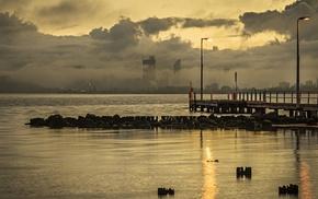 pier, dock, cityscape, sea, skyscraper, water