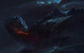fantasy art, ship, dragon