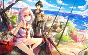 white hair, couple, landscape, anime, original characters
