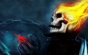 Ghost Rider, fantasy art, artwork, skull