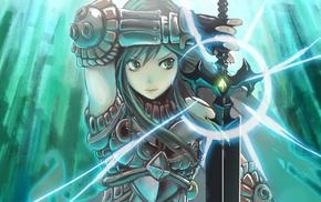 armor, original characters, anime girls, fantasy art, anime, sword