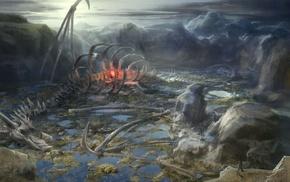bones, fantasy art, dragon