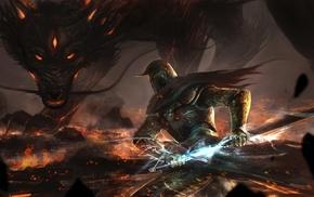 knights, dragon, fantasy art