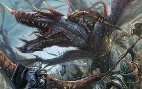 dragon, fantasy art, knights