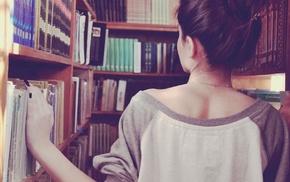 books, girl, library