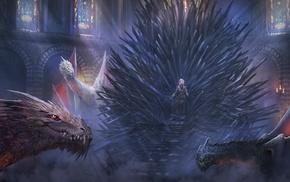 Daenerys Targaryen, Iron Throne, Game of Thrones, fantasy art