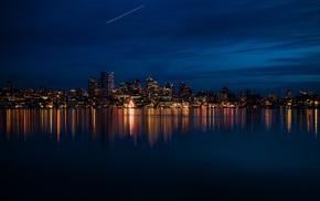city, evening, reflection, night, sea, lake