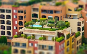 house, arch, rooftops, swimming pool, town, colorful