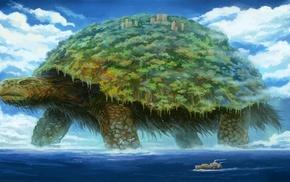 birds, animals, ship, giant, landscape, building