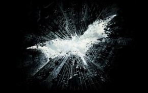 simple background, Batman logo, digital art, Gotham City, rock, ruin