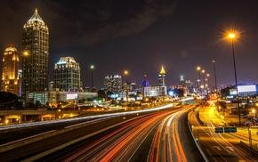 lights, building, USA, city, long exposure, night
