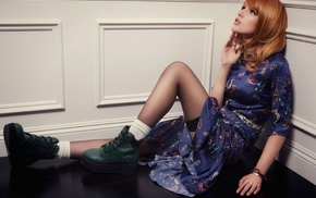boots, open mouth, black stockings, blue dress, socks, looking up