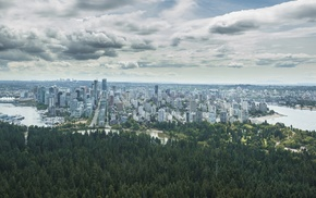 clouds, cityscape, city, trees, forest