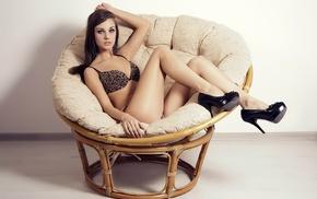 black heels, chair, walls, girl, high heels, sitting
