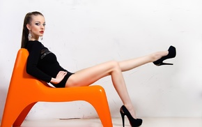 leotard, chair, walls, sitting, high heels, black heels