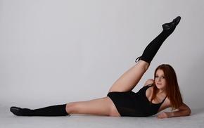 smiling, walls, on the floor, ballet slippers, spread legs, gymnastics