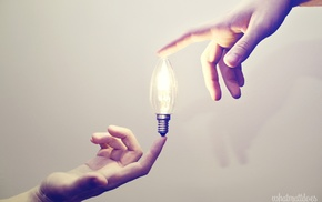hand, lights, light bulb