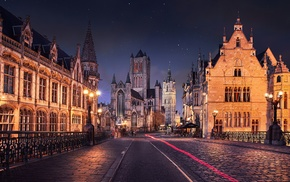 street, architecture, road, Gent, street light, old building
