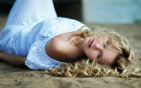 sand, curly hair, white dress, dress, beach, lying down