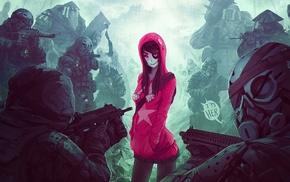 anime girls, artwork, gun, eye patch, soldier