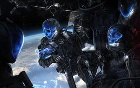 digital art, science fiction, cyborg, space, artwork