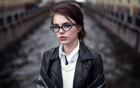 Oktyabrina Maximova, girl, looking at viewer, depth of field, girl with glasses, brunette