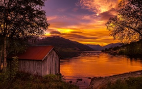 sunset, mountain, trees, water, shrubs, boathouses