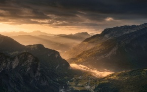 sunrise, village, mountain, France, sun rays, valley