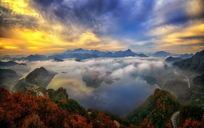 clouds, sunrise, forest, lake, road, mountain