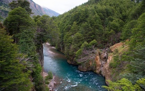 water, green, Chile, river, trees, landscape