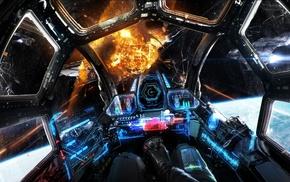 spaceship, dragon, digital art, artwork, war