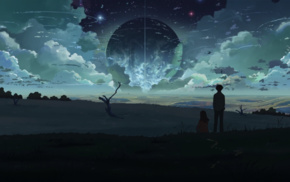 clouds, field, night, anime, 5 Centimeters Per Second, surreal