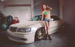 high heels, pierced navel, redhead, car, bikini, open shorts