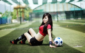 back, girl, sitting, legs, Asian, ball