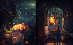 fantasy art, Sylar, night, fish, artwork, window