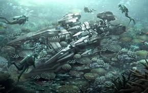 artwork, divers, futuristic