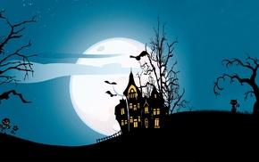 moon, cat, house, Halloween, digital art, trees