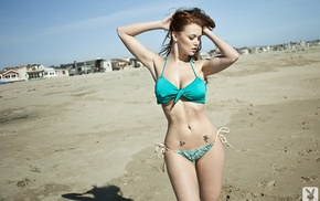 Playboy, girl, armpits, Leanna Decker, boobs, beach