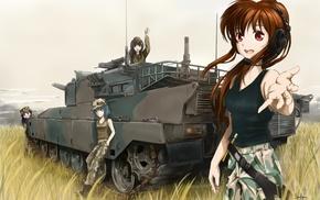 original characters, anime, anime girls, tank top, army girl