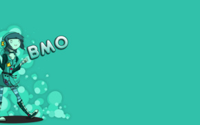 simple background, BMO, humanized, blue, Adventure Time