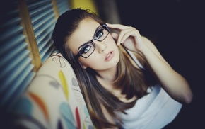 makeup, couch, girl with glasses, glasses, blue eyes, girl