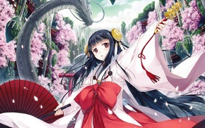 original characters, Japanese clothes, dragon, miko, anime girls, cherry blossom
