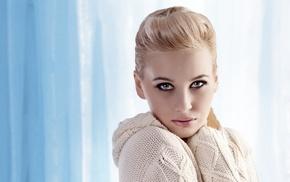 blue eyes, smoky eyes, eyeliner, girl, blonde, indoors