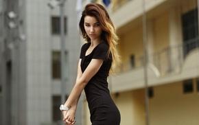 black dress, blonde, skinny, portrait, brunette, girl