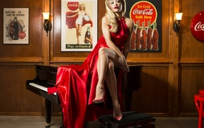 Rita Ora, piano, red lipstick, blonde, Coca, Cola