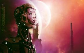 science fiction, artwork, astronaut