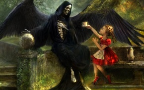 children, fantasy art, artwork, tea, ballet slippers, death