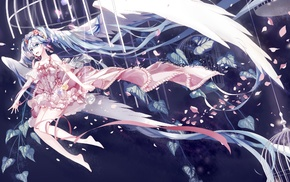 dress, twintails, flower in hair, anime girls, Hatsune Miku, cages