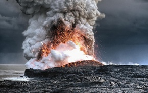 nature, eruption, lava, volcano, sea, coast