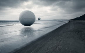 photo manipulation, ball, monochrome, people, coast, overcast